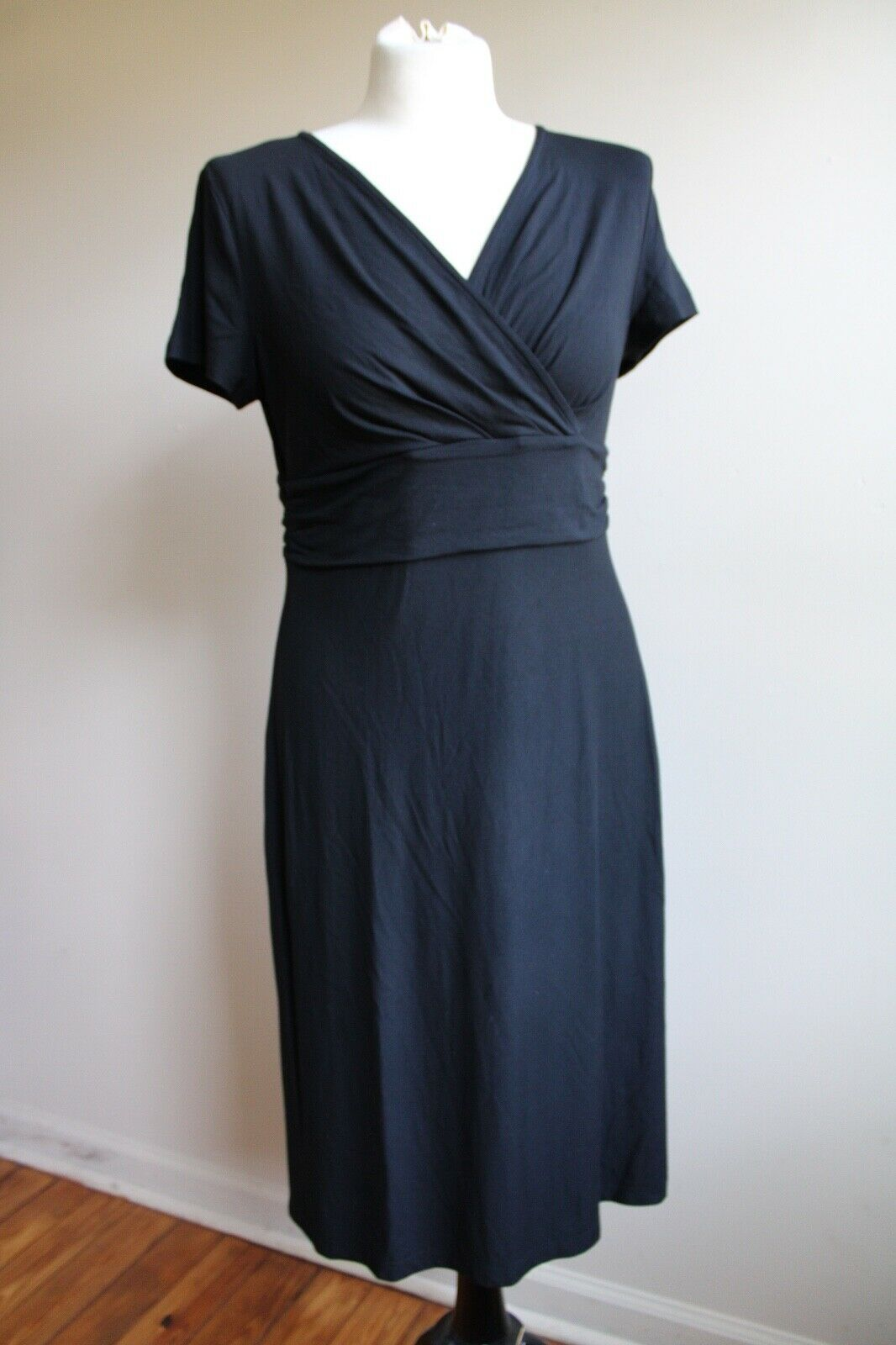 Primary image for Talbots MP Black Short Sleeve Wrap Top Stretch Jersey Dress