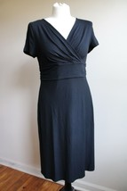 Talbots MP Black Short Sleeve Wrap Top Stretch Jersey Dress - $26.60