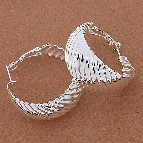 Primary image for Wide Twisted Hoop Earrings 925 Sterling Silver NEW