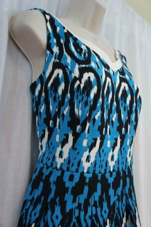 Anne Klein Dress Sz 12 Capri Blue Multi Sleeveless V-Neck Swing Career Cocktail image 6