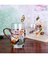 Orange Flower Blossom Enamel Glass Heat Resistant Coffee Milk Tea Cup + ... - $73.93