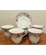 Noritake Ivory China Adagio Porcelain Set of 4 Footed Cups & Saucers - $37.39