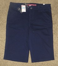 NWT Justice Navy Denim Uniform Bermuda Shorts Size 14R 14 Regular - $18.55
