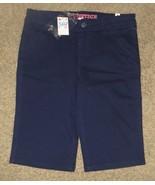 NWT Justice Navy Denim Uniform Bermuda Shorts Size 14R 14 Regular - $18.55