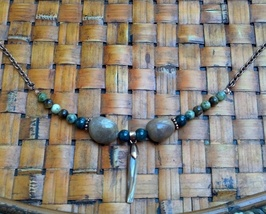Mother of Pearl Sharks Tooth Jasper Necklace Tribal Boho Necklace Made I... - $39.99
