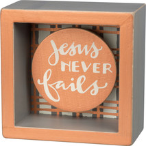 PBK Home Decor - Jesus Never Fails Box Sign - $10.84