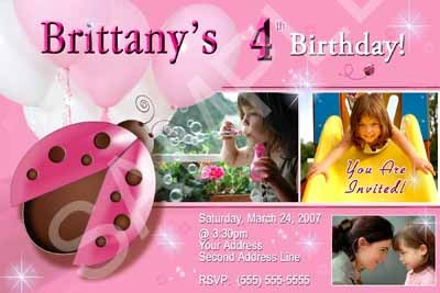Custom Photo Lady Bug Ladybug Personalized Girls Birthday Party Invitations