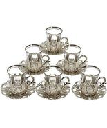 6 X Turkish Tea Glasses Set with Saucers Holders & Spoons Choose Your Co... - $48.00