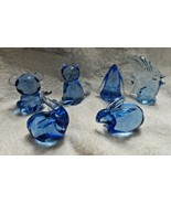 Lot of 6 Blue glass paper weights - elephant, fish, Penguin, rabbit, cat... - $32.00