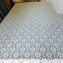 "TABLECLOTH Cream Cutout Lace Floral Design 58"" X 76""  Exc Pre-Owned (CC) - $64.99"