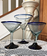 Vintage Handblown Margarita Glasses with Cobalt Blue Trim. 3 Different S... - $19.00
