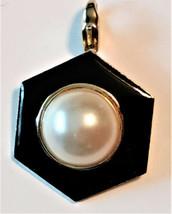 Signed Hobe Enamel Hexagon Pendant with Marjoca Pearl Center - $98.87