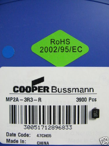 Primary image for MP2A-3R3-R Cooper Bussmann 3900 PCS Reel MP2A3R3R