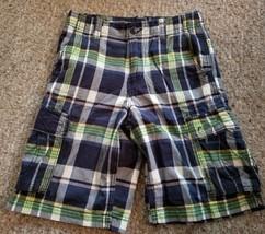 GAP KIDS Blue Plaid Cargo Shorts Boys Size 12 Adjustable Waist - $4.66