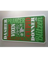 Wooden Hanging Sign (new) Reindeer Names Green/Red - $13.17
