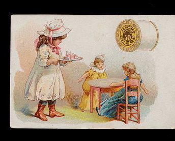 Primary image for 1885 J & P Coats Girl Feeding Her Dollies Trade Card