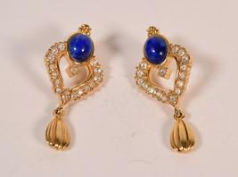Vintage Avon Gold Tone Blue Faux Lapis Rhinestone pierced Post Dangle Earrings - $29.70