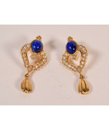 Vintage Avon Gold Tone Blue Faux Lapis Rhinestone pierced Post Dangle Ea... - $29.70