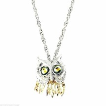 Vintage Articulated Owl Necklace Pendant Gold & Silver Tone Partial Piec... - $18.76