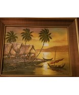 Mid Century Oil on Canvas,Exotic,Island,Trees,Boats,Vintage,Original,Framed,Huts - $135.00