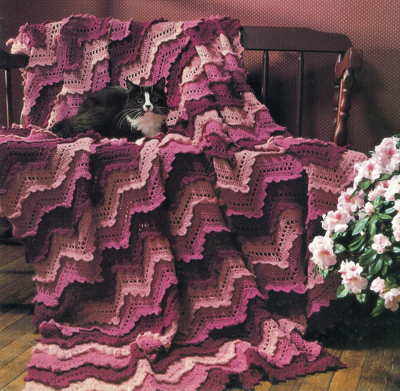 VICTORIAN RUFFLED RIPPLE AFGHAN CROCHET PATTERN~UNIQUE