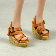 1/6 Scale Phicen, Hot Toys, NT Female Medium Brown Strap Sling-Back Wedg... - $18.32