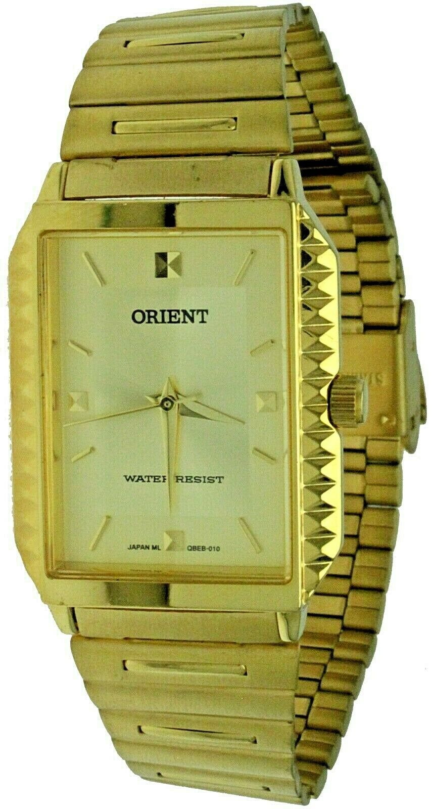 Primary image for New ORIENT Quartz Rectagular Stainless Steel Yellow Gold Band, Case& Dial Watch