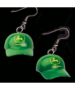 JOHN DEERE HAT CAP EARRINGS-Farm Charm Funky Novelty Jewelry-BIG - $6.97