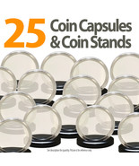 25 Coin Capsules & 25 Coin Stands for JFK HALF DOLLAR Direct Fit Airtigh... - $19.75