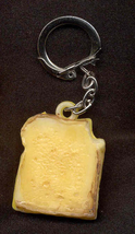 SANDWICH KEYCHAIN-Vintage Toast Cheese Food Charm Funky Jewelry - $6.97