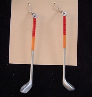 GOLF CLUB EARRINGS-Sports Game Ball Golfer Lucky Charm Jewelry