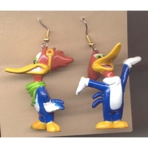 Primary image for WOODY WOODPECKER EARRINGS-Vintage Mini Figure Bird Funky Jewelry