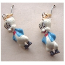 PORKY PIG EARRINGS-Vintage Mini Looney Tunes Charm Jewelry-3d - $6.97