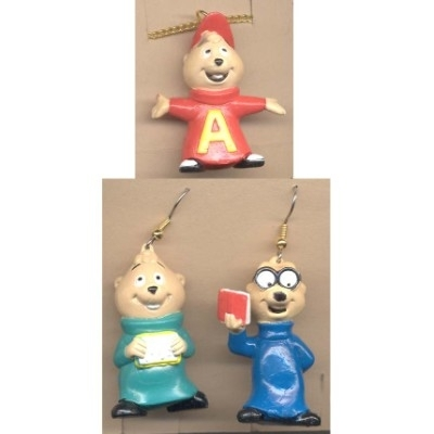 Alvin chipmunks necklace earrings set