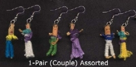 WORRY DOLL FUNKY EARRINGS-Vintage Lucky Charm Retro Jewelry-1-PR - $5.97