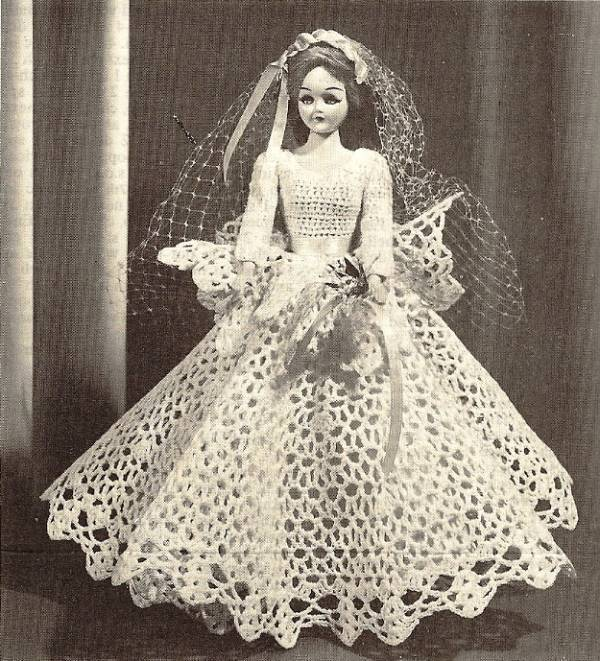 Y125 Crochet PATTERN ONLY Vintage Sweet Bride Doll Gown