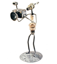 Junkyard Art Handmade Recycled Spark Plug Sculpture Figurine - Photographer - $44.88
