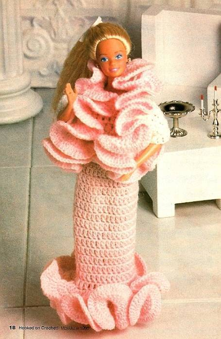 Y434 Crochet PATTERN ONLY Fashion Doll Frills Stunning Glamorous Gown & Jacket