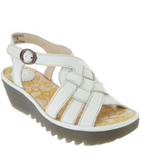 FLY London Leather Braided Front Wedge Sandals - Rini Offwhite EU 38 / U... - £71.82 GBP