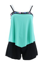 Fit 4 U Embroidered Bandeau Tankini Short Mint 12 NEW A350541 - $51.46