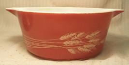 Vintage PYREX 475-B Rust Autumn Harvest Wheat 2.5 Qt Casserole Dish Bowl... - $14.84