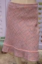 GAP Coral Pink/Beige Tweed Lined Wool Blend Knee Length Trumpet Skirt (2) - $14.60