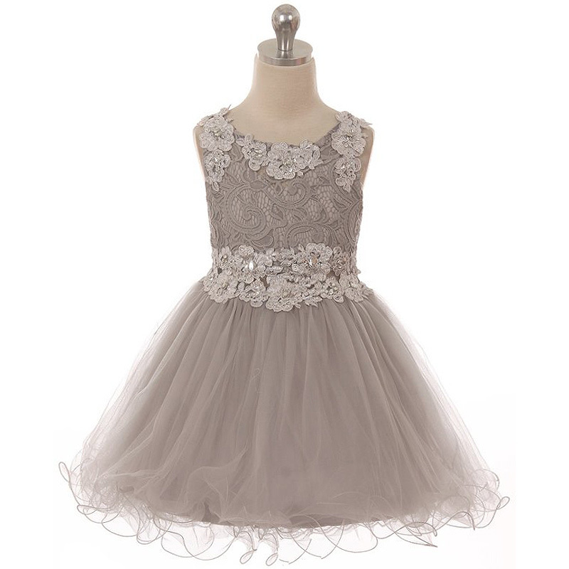 Mini Dress Lace Bodice Rhinestones Neckline Waistline Birthday Flower Girl Dress