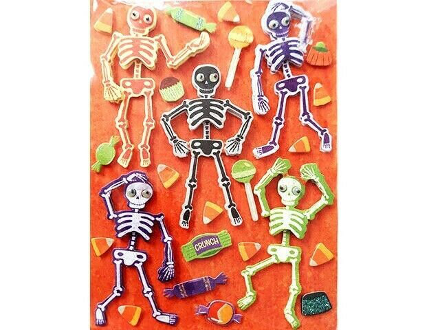 Dimensional Skeletons with Googly Eyes & Candy Stickers, Perfect for Halloween!