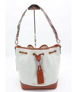 NWT Dooney & Bourke Cordova White Leather Drawstring Bucket Shoulder Bag... - $198.00