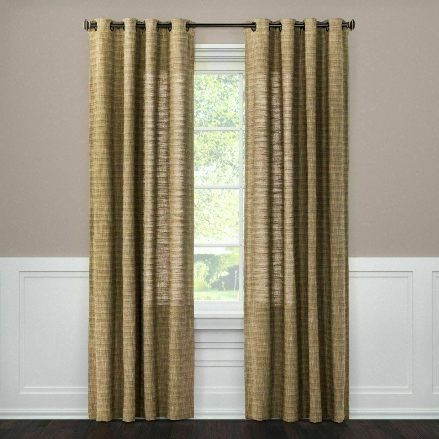 "Threshold Textured Weave Window Curtain Panel 54"" x 84"" Grommet Top Brown NEW - $29.69"