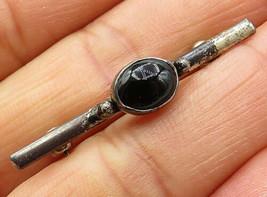 925 Sterling Silver - Vintage Petite Black Onyx Thin Bar Brooch Pin - BP... - $25.67