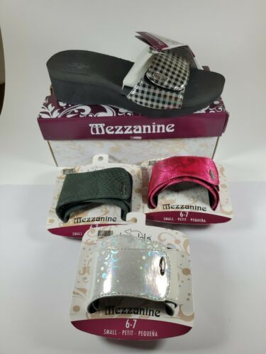 Primary image for Bandals Size 7 Black Checker Wedge Sandal Shoes Mezzanine Interchangeable Straps
