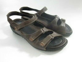 ECCO Size 38 US 7- 7.5 Ankle Strap Brown Leather Comfort Sandals Women's - $34.91