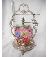 Antique Moser Cranberry Glass Handpainted Victorian Pickle Castor - $688.05